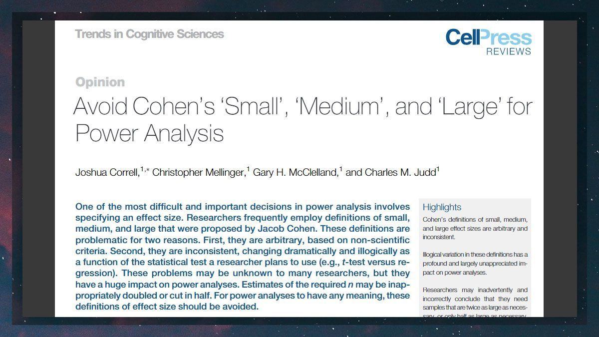 Different fields of psychology substantially differ from one another in terms of a *typical* effect size. This means that using Cohen's definitions of small, medium, and large as the basis for power analyses (or interpretation of data) is misleading.  #phdchat https://t.co/PAvbfQa3l9