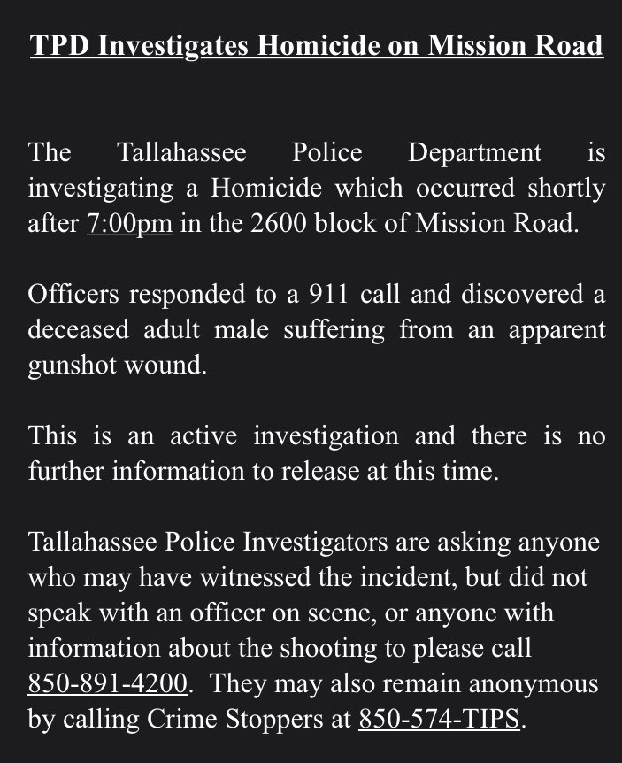 Breaking news: Another homicide in #Tallahassee, third killing since Wednesday.