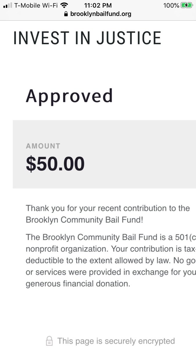 Matched. Donate y'all.  https://brooklynbailfund.org/donation-form https://twitter.com/jumonsmapes/status/1266532741321052160…pic.twitter.com/h4og9166lX