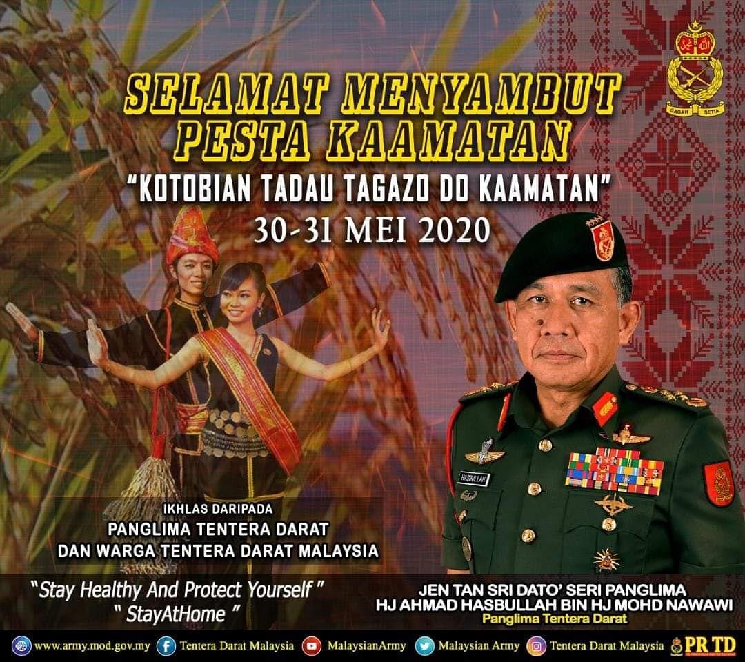 Panglima Tentera Darat dan seluruh warga Tentera Darat mengucapkan selamat menyambut Pesta Kaamatan buat semua yang meraikan.  Semoga perayaan ini terus menyemarakkan keharmonian antara kaum di Malaysia dan memperkukuhkan perpaduan sesama kita.  #TenteraDaratMalaysia https://t.co/o7htz3dVhN