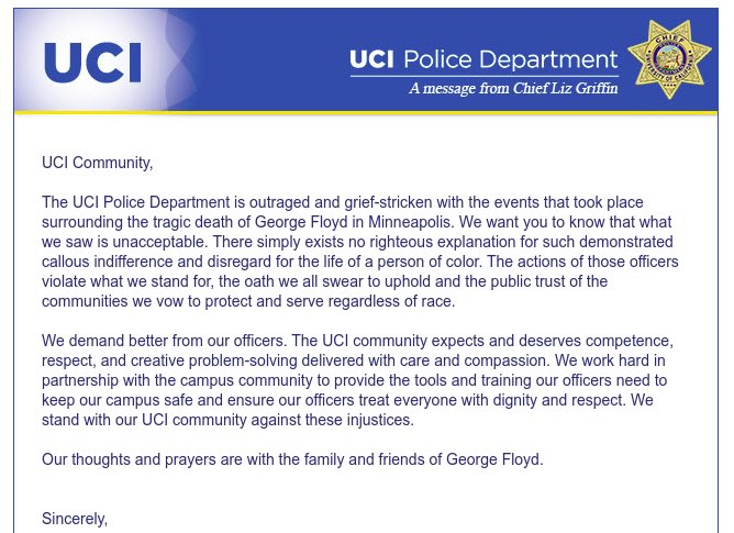 @UCIrvine continues 2 bring in police presence at student events. JUST THIS MORNING at a vehicle rally UCIPD followed protesters thru the city & were stationed at all our stops. We only discussed the stops one time, which was last night & we never publicly shared this information