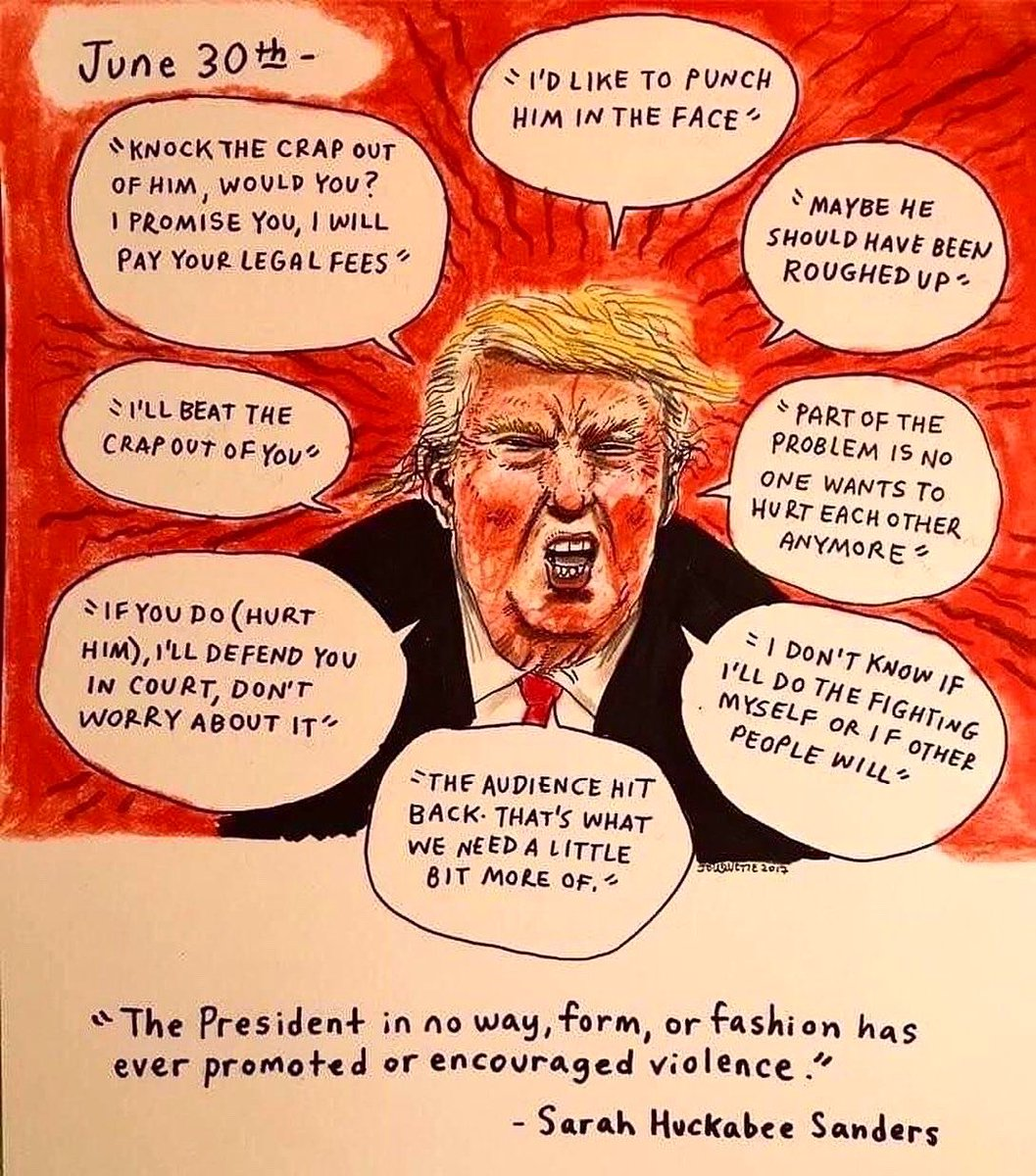 """""""When the looting starts, the shooting starts"""" could easily fit with this drawing from a couple years ago documenting President* Mayonnaise Sculpture's taste for inciting violence, his 2nd favorite pastime next to declaring bankruptcy. #flashbackfriday #dumptrump #thedailydon"""