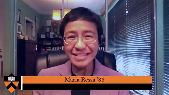 """""""Make the choice to learn, embrace your fear, and build your community.""""  Journalist @mariaressa '86 addresses #Princeton20 with words of inspiration for the future. #MondayMotivation pic.twitter.com/SLrgW78mwC"""
