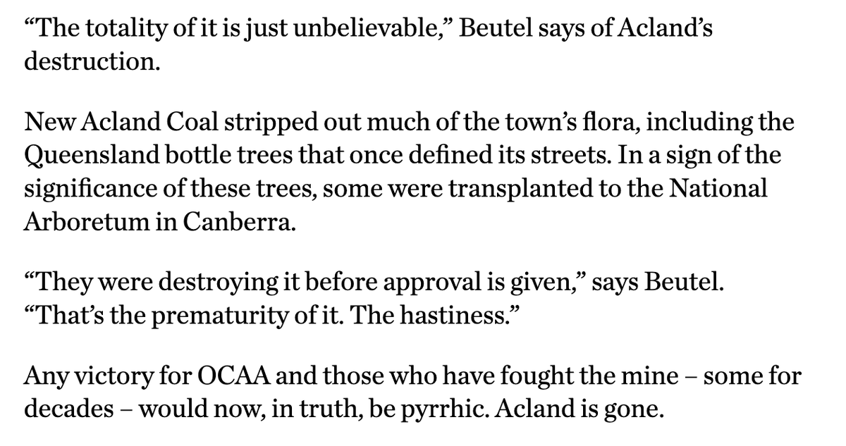 Glenn Beutel is last man standing, refusing to sell his land in town to the miner for well over a decade. Heres the thing though: the mine was never granted its first mining lease application over the town. The revised lease excludes Acland. It went for nothing, or so it seems.
