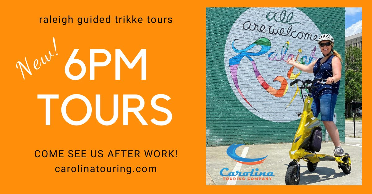Now offering an additional 6 pm time for our Trikke tours, by popular demand! Book yours here https://carolinatouring.com  . #guidedtours #trikketours #downtownRaleigh #RaleighNC #wakecounty @visitRaleigh #history #smallgroups #carolinatouring #afterwork #datenight #ncpic.twitter.com/i7JuUIfxHA