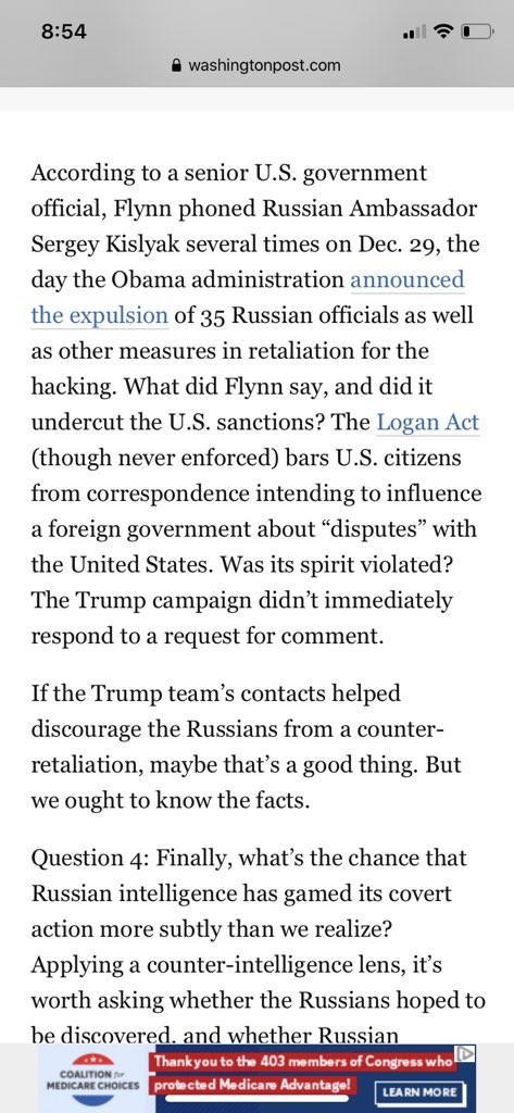 #FLYNN Side by Side: 2017 WaPo report on Flynn/Kislyak 12/29/2016 call and newly declassified transcripts of same call from acting DNI @RichardGrenell and DNI @RepRatcliffe sent to @ChuckGrassley @SenRonJohnson https://t.co/mAHJG2UVSW