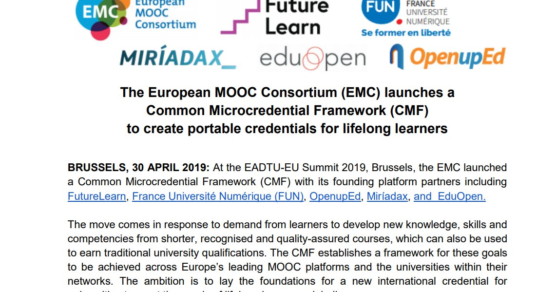 The European #MOOC Consortium launches a Common #Microcredential Framework (CMF) to create portable credentials for lifelong learners #CMF @FunMooc @FutureLearn @miriadax @EduopenNetwork @OpenupEd http://e-learning-teleformacion.blogspot.com/2019/05/the-european-mooc-consortium-emc.html…   #credential #smartContracts #HigherED  #elearning #TICpic.twitter.com/fn8OxJ0yjC