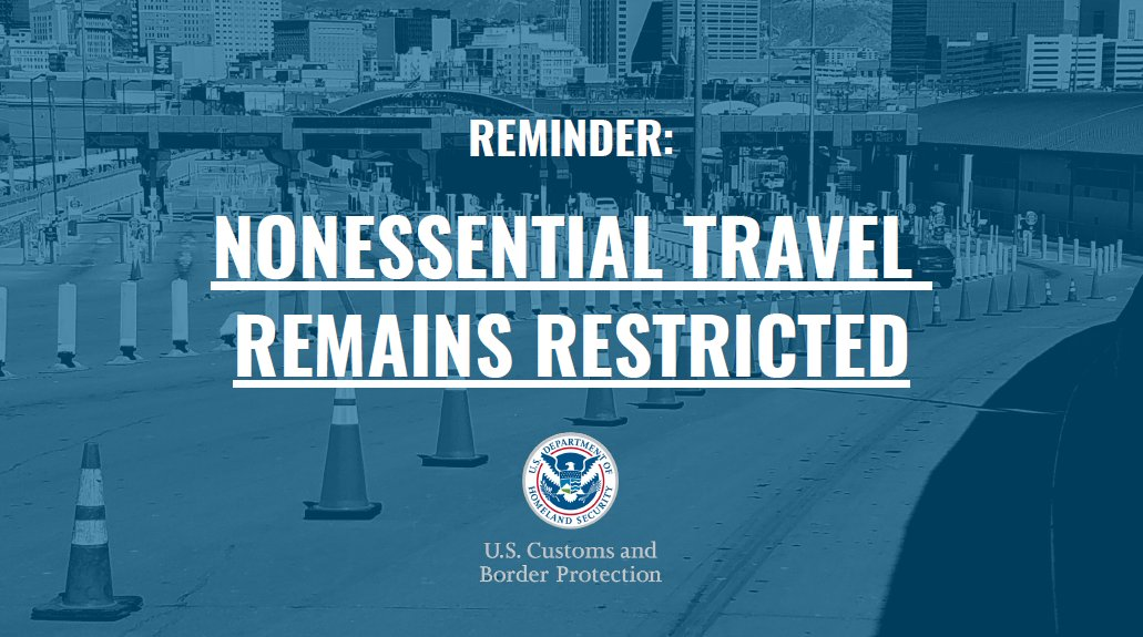 As regions reopen, a reminder that nonessential travel is still restricted. Strongly reconsider travel to MX to: • Help curb #COVID19 spread in MX border states • Shield hospitals on both sides of border • Prevent personal & community infection  Together we can #StoptheSpread pic.twitter.com/nEbzx7EBPn