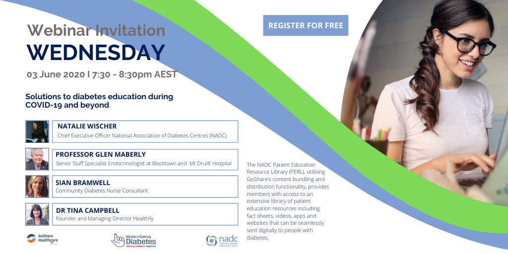Save the date on Wednesday, 3rd of June 2020 as NADC offers a free webinar, together with Western Sydney Diabetes and GoShare (by Healthily) about Solutions to diabetes education during COVID-19 and beyond at 7:30-8:30pm AEST. Register here for free http://bit.ly/2Xe9bBF pic.twitter.com/87ly9OcuEl