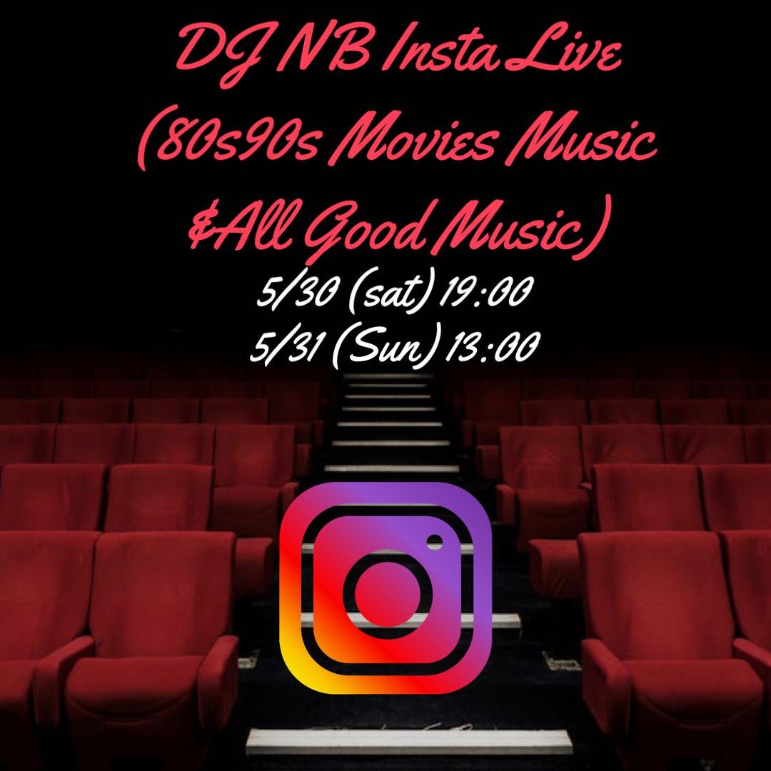 Insta Live やります✨  テーマは80s90sMovie Music & All Good Music  5/30(Sat)19:00 5/31(Sun)13:00  よろしくおねがいします✨  #insta #live #djnb #80s #90s https://t.co/VvyzUgLPDd