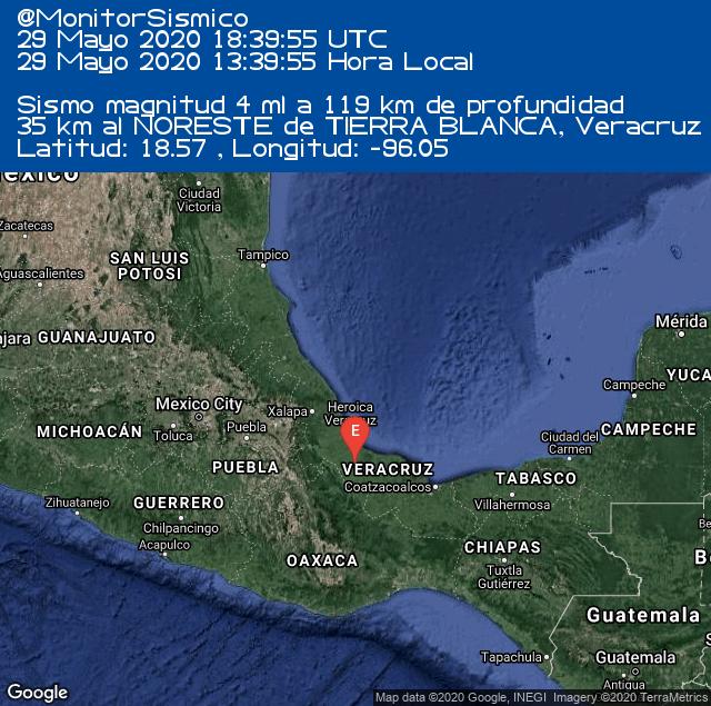 #Sismo M 4 35 km al NORESTE de TIERRA BLANCA, #Veracruz #VER 29-05-2020 18:39 UTC https://t.co/h5bzuYi6Mz #Mexico #SSN #Earthquake https://t.co/jT6RBSMrt0