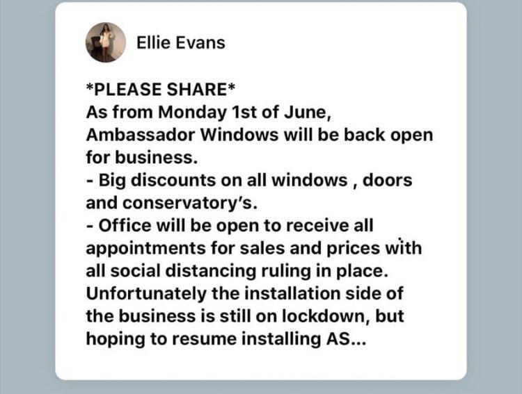 Message re Ambassador Windows, Llanelli. Please RT