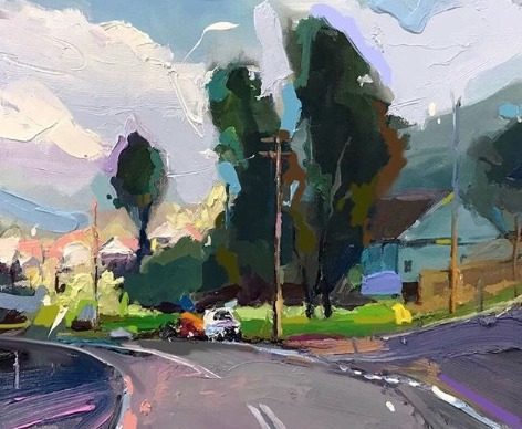 """Coast Road at Scarborough"", 35X45cm, oil on board. #artoftheday #abstractexpressionist #artgallerypic.twitter.com/FWWp9U1eAo"