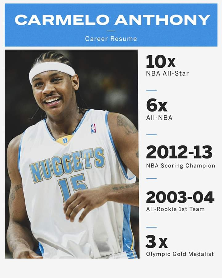 Carmelo Anthony turns 36.   His resume is loaded 🎉 https://t.co/1yufLCVh6l