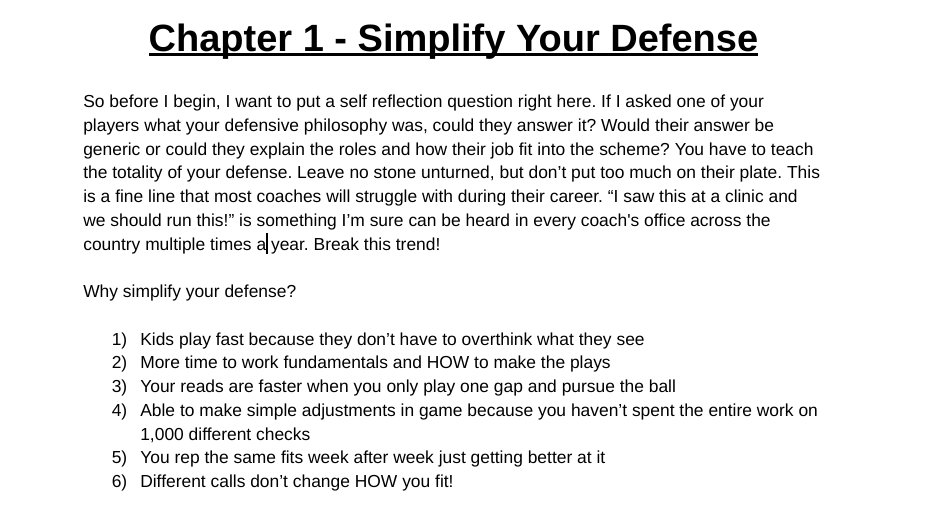Book update for the day: 10,000 words and done with the bulk of the writing. Last couple of chap. are alignment and defending certain offenses.   Here is a piece from chap. 1 about simplifying your defense and the pros! Retweet this if you can't wait for the release date pic.twitter.com/TgfiR6khsp