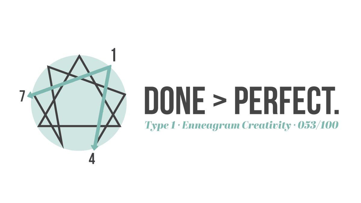 053/100 Type 1: Done > Perfect. Listen at https://t.co/MBo795Vt8V  #the100dayproject #the100daysofEnneagram #enneagram #creativity #enneacreate #enneagram1 https://t.co/32Vf6oYSnu
