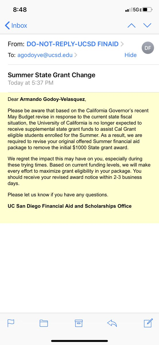 @UCSanDiego if you're going to take away money from me to go to school then you have to compensate by lowering the price of classes, books, etc. You are a prestigious university with a lot of money, stop being greedy and HELP STUDENTS
