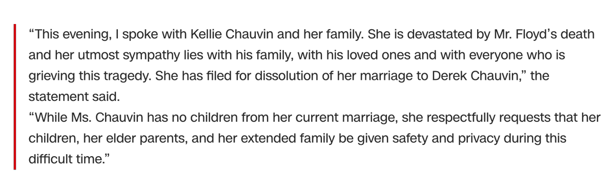 An attorney for Kellie Chauvin, the wife of ex-Minneapolis police officer Derek Chauvin, has filed for a dissolution of marriage, according to a statement from the Sekula Family Law office https://t.co/sEuT8oMRNE https://t.co/giON9InUR0