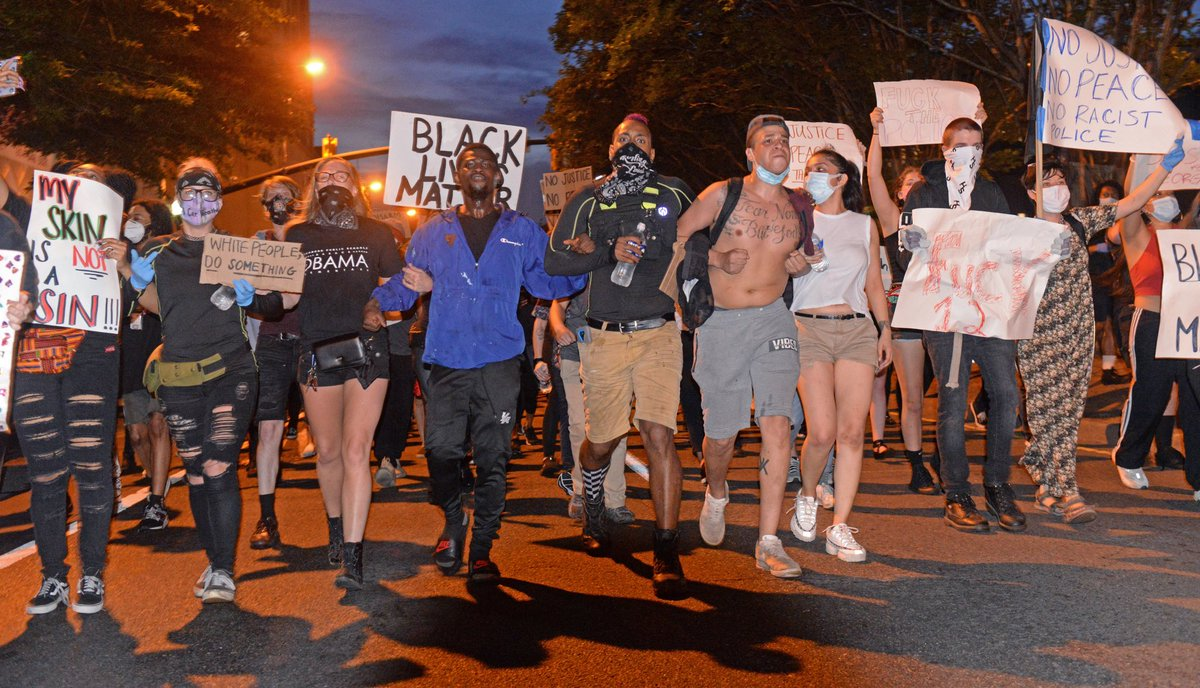 Hundreds of protesters marched in Richmond tonight in response to the death of George Floyd.