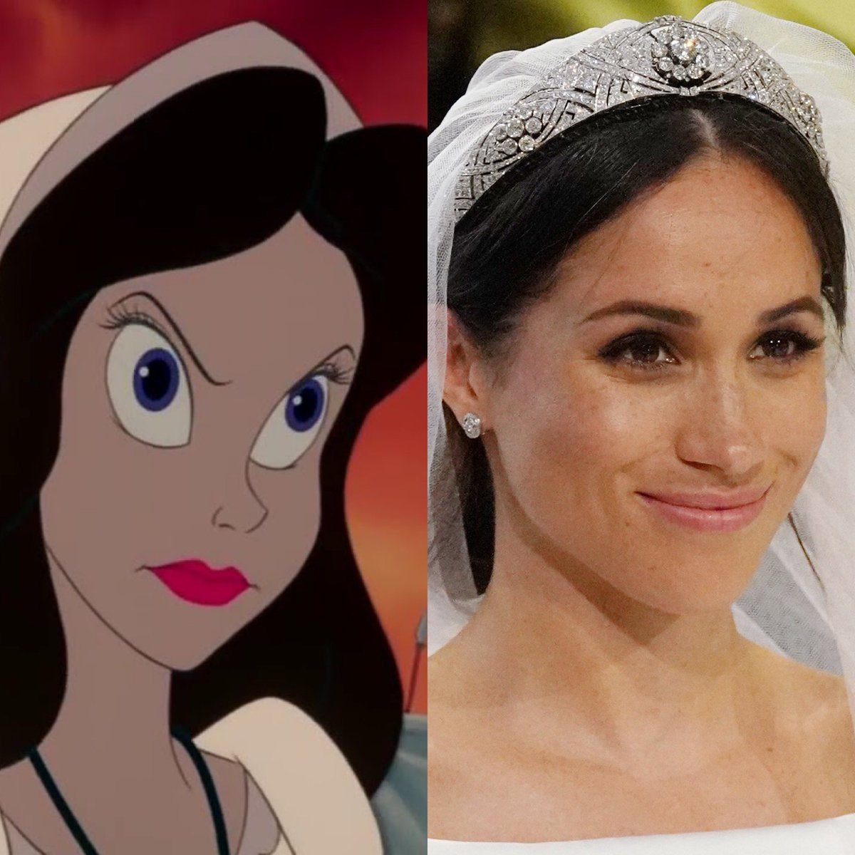 "I just read a comment on an Instagram post featuring a picture of Meghan Markle that said, ""I kinda hate her. Vanessa from The Little Mermaid incarnated."" And though I don't agree, I couldn't help but laugh. And I needed that today. And also I made this immediately after. pic.twitter.com/F7BO4alqdk"
