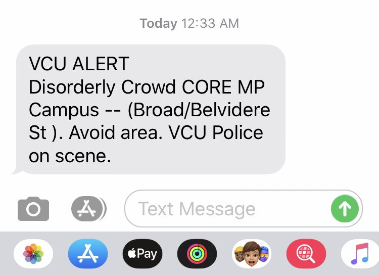 Just got this alert from VCU police. They're a bit late... https://t.co/G8vj5b9jyy