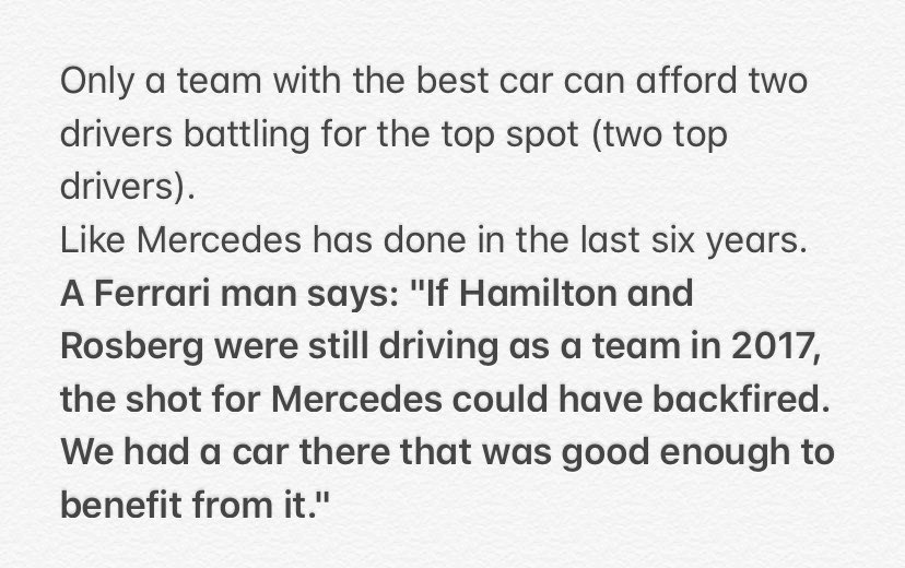 "A Ferrari man says: ""If Hamilton and Rosberg were still driving as a team in 2017, the shot for Mercedes could have backfired. We had a car there that was good enough to benefit from it."" https://t.co/bmrKc95DFH"