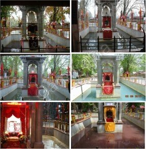 Today is #ZyeshtaAshtami/ #ZyethAetham,a day v.spl to #Kashmiris.This day we visit Mata #KheerBhavani temple in #Tulmul near #Srinagar.The divine spring often changes colour;red/black signifies distress. Today the water is said to be green.May Devi bless us all and keep us safe🙏