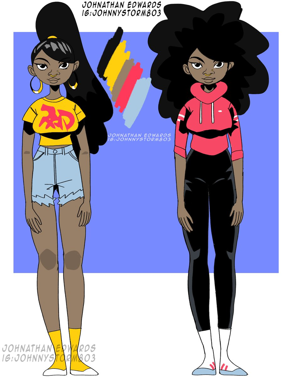 """""""Brianna"""" character concept. I used the same colors for both of her designs. #art #illustration #animation #concepts #disney #sony #netflix #artist #blackartist #converse #nikepic.twitter.com/WtUJ9tkmRO"""