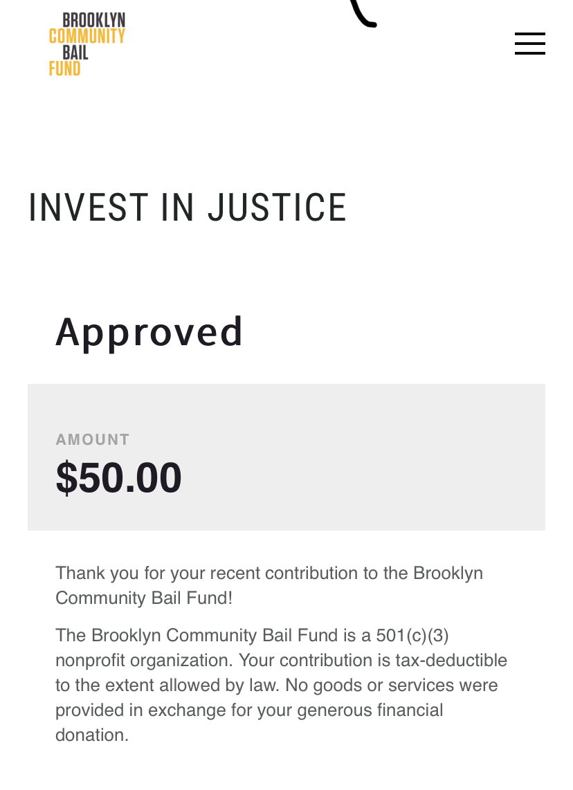 Finished the day out by donating to the Brooklyn Bail Fund. Would suggest people do the same to help those standing in protest of racism and injustice tonight. brooklynbailfund.org/donate