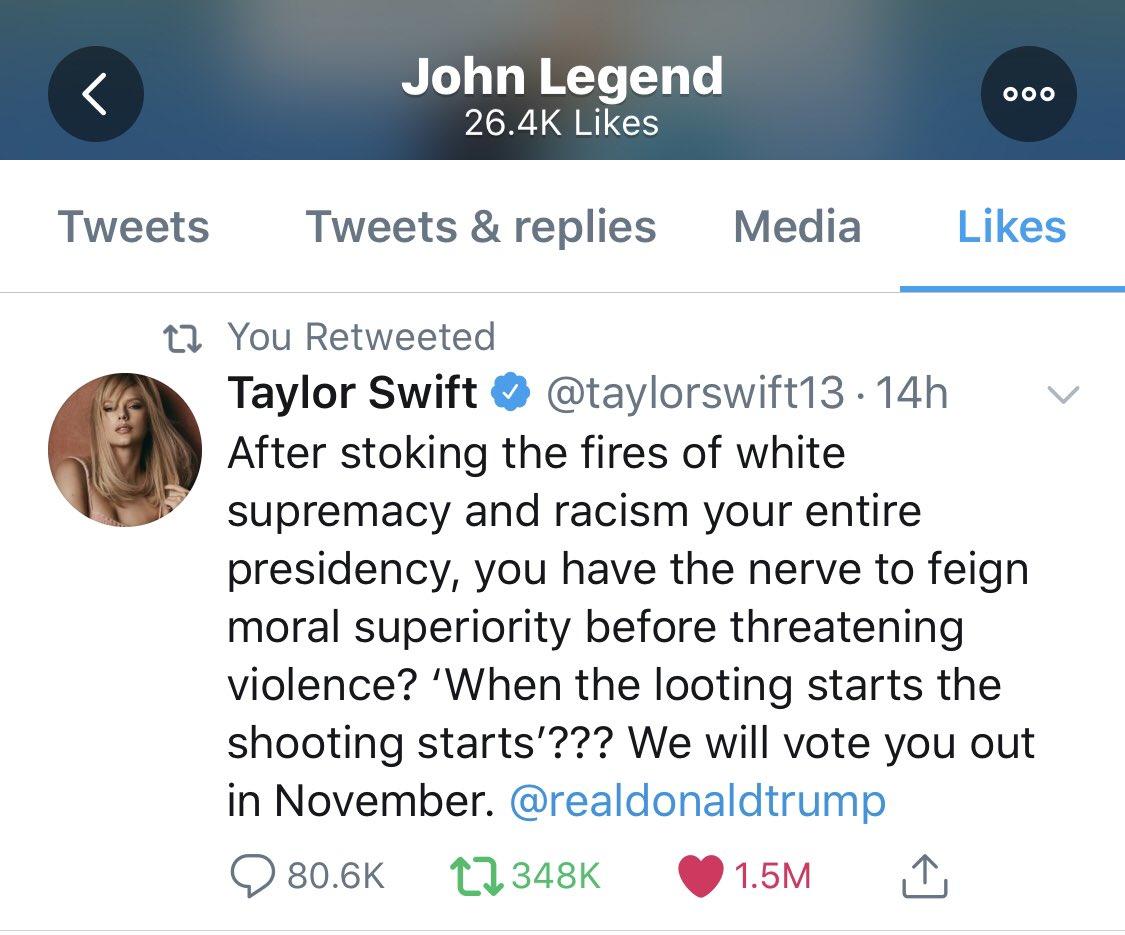 Taylor Swift News On Twitter Johnlegend Has Liked Taylorswift13 S Tweet Against Donald Trump