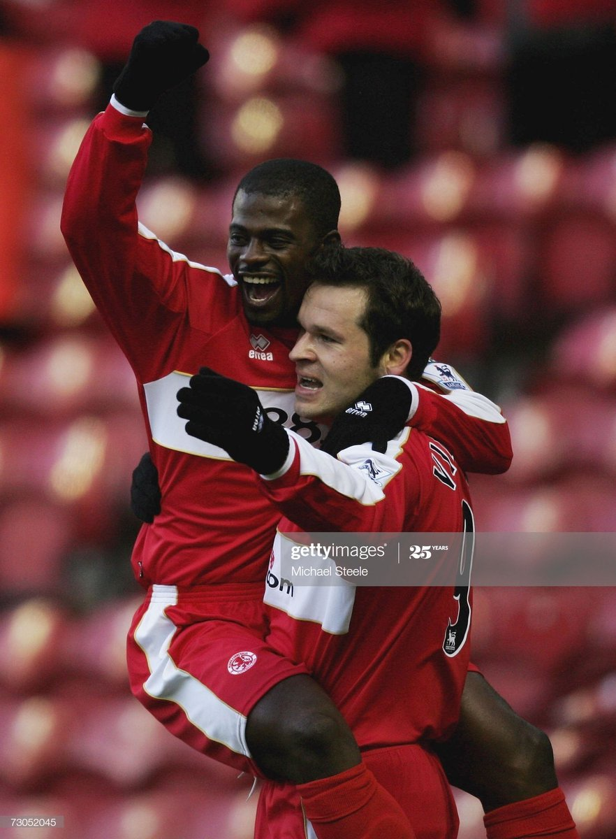 Further confirmed players for the #Boro charity match: Viduka, Boateng, Mustoe, Greening, Mendieta, Hendrie, Wilkinson, Moore, Stamp, Blackmore, Bates, Barron, Harrison, Liddle. Who's next? 🤔👀 📸: Getty