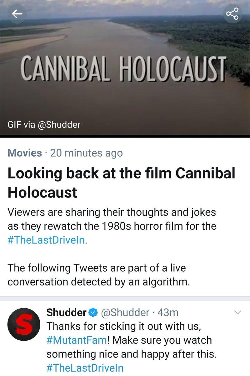 #CannibalHolocaust is trending, people. Keep it going...🤗 #TheLastDriveIn #mutantfam https://t.co/8Xu2ZnSaPm