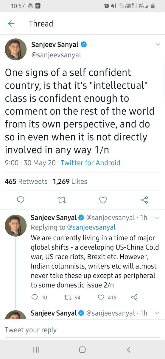 Interesting theory. And the self-awareness to put <intellectual> in quotes!  Most revealing part of this to me is that when Sanyal wants to know what Indian intellectuals are writing about, he goes to media outlets & TV. (Not, e.g. magazines, journals, books.) pic.twitter.com/gPTDw2GsAp