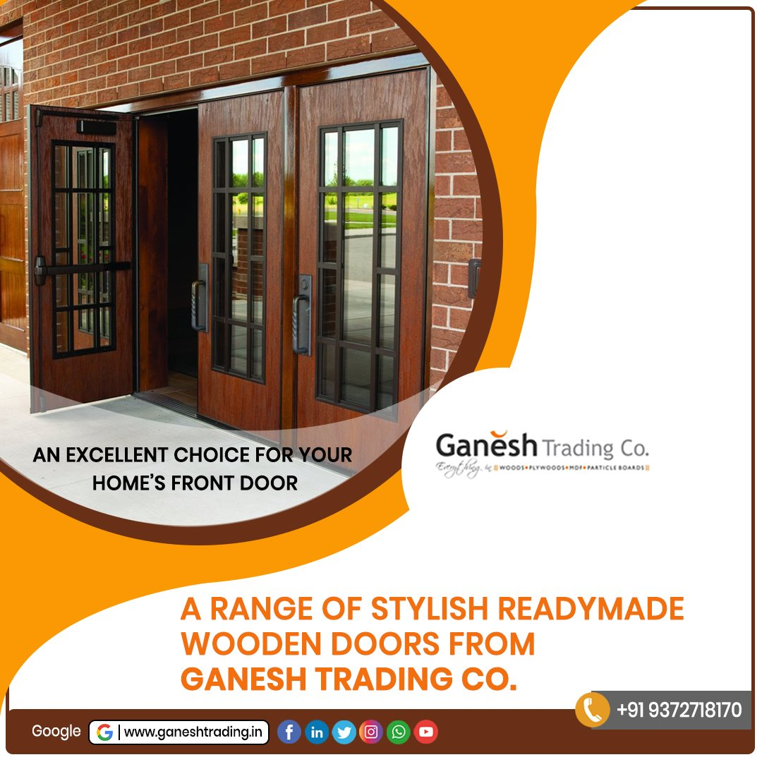 A range of stylish readymade wooden doors from Ganesh Trading Co. An excellent choice for your home's front door.  Visit Us @   #woodenmaterial #plywood #woodworking #decorative items #design #furniture #doorsframes #interiordesign #interior #woodwork