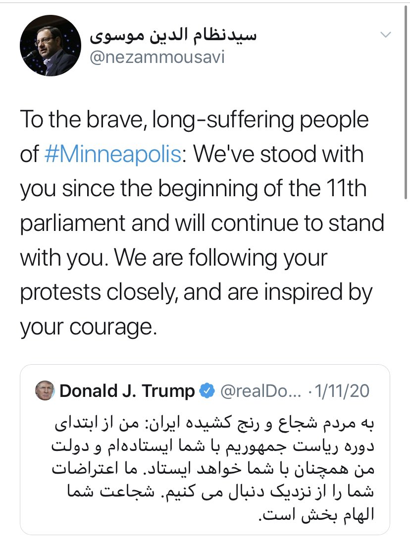 Officials in #Iran are using the #GeorgeFloyd unrest to turn the tables on officials in DC, with this member of the newly-elected parliament quoting almost verbatim from a tweet Trump sent out during January unrest in Tehran. https://t.co/Lu6NQ3SXZD