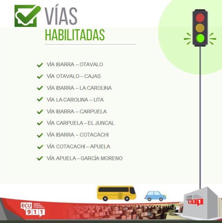 #VíasECU911 | Cámaras del @ECU911_ monitorean 24/7 las carreteras de la provincia | Compartimos el estado de las vías en #Imbabura   Ayuda a prevenir más casos de contagio y #QuédateEnCasa #Covid_19 #PrevenciónEsSaludpic.twitter.com/AyyYIyTcJU