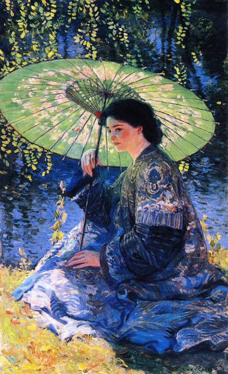 The American Impressionist Guy Rose (1867-1925) painted The Green Parasol at age 44.  The son of a prominent California senator created this while he was living in Giverny, France, close to the house of Claude Monet.  #Art #Painting #Colorful<br>http://pic.twitter.com/qvmQcGAXnK