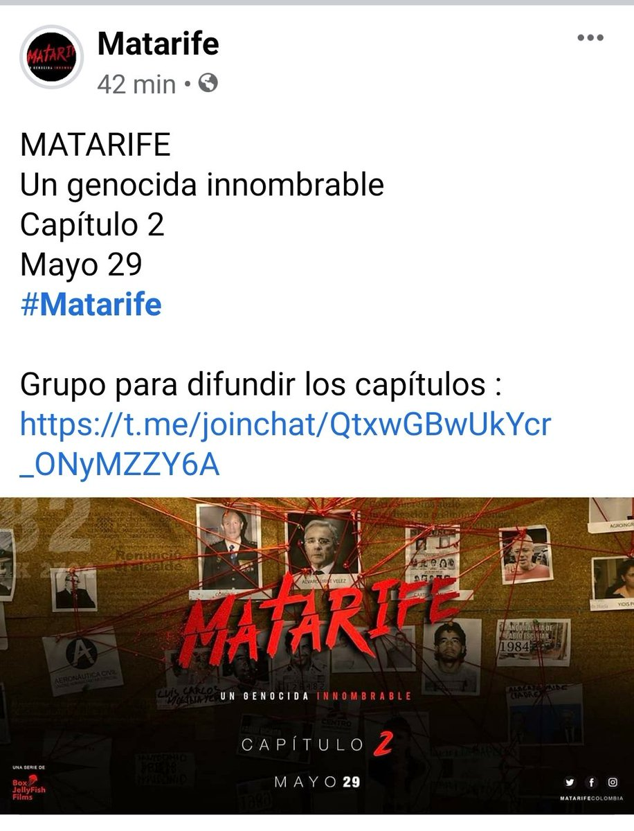 @TheEconomist   In Colombia something spectacular happens.  With the series #MatarifeLaSerie they have exposed the always skillful criminal narco Álvaro Uribe Velez  The world is learning day by day of the atrocities committed by the current Colombian senator and former president <br>http://pic.twitter.com/mDDdb4yXX3
