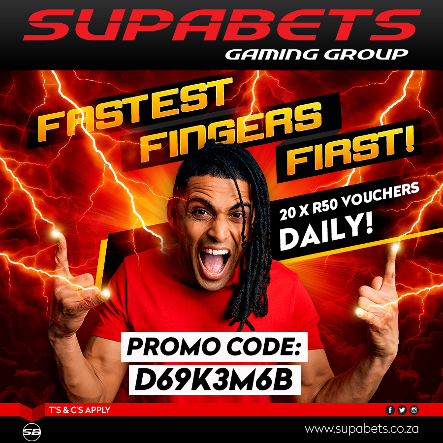 Guy's it's #Day_2 of our #Fastest_Fingers promo & here's today's code, Remember to fill out the form in the link below and follow us on #Twitter, #FB & #Instagram for daily codes😎  #Fastest_Fingers_First #D69K3M68 #Supabets  Click here 👇 to complete form https://t.co/VPuKyaWIQ3 https://t.co/IKv57G8zQv