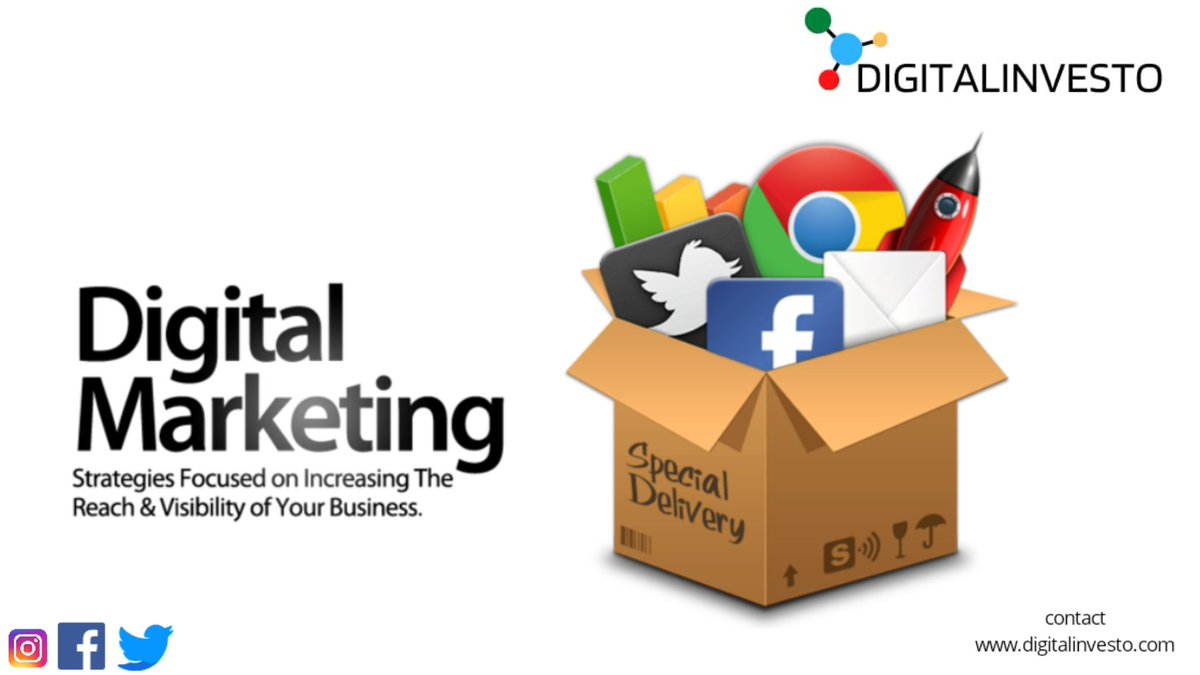 We have the best #Digital #Marketing strategies focused on Increasing the #Reach & #Visibility of your #business  For more details visit: https://t.co/3w31rXfMc9  #DigitalMarketing #Facebook #instagram #Twitter #Google #businesshacks #businessgrowth #DigitalIndia https://t.co/0zHZozkfRc