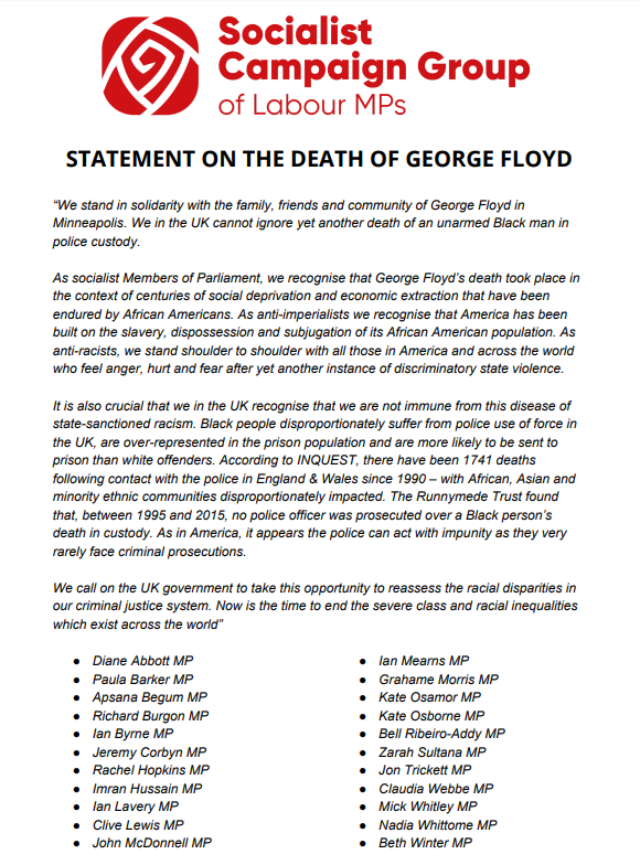 Statement from members of the Socialist Campaign Group of Labour MPs in solidarity with the family, friends and community of George Floyd in Minneapolis.