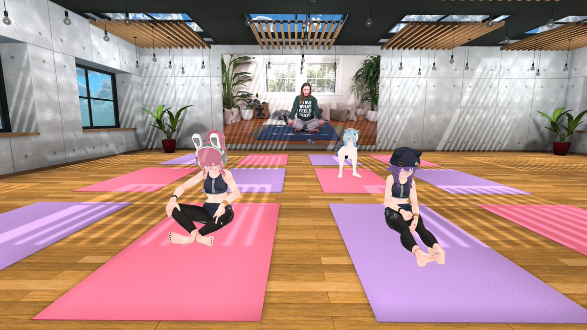 Day 8 done! Was more of a relaxing meditation day again today so i'm feeling good! 🧘♀️Back to the pain tomorrow though! 💪  #vrchat #vrc #yoga #fitness #twitch