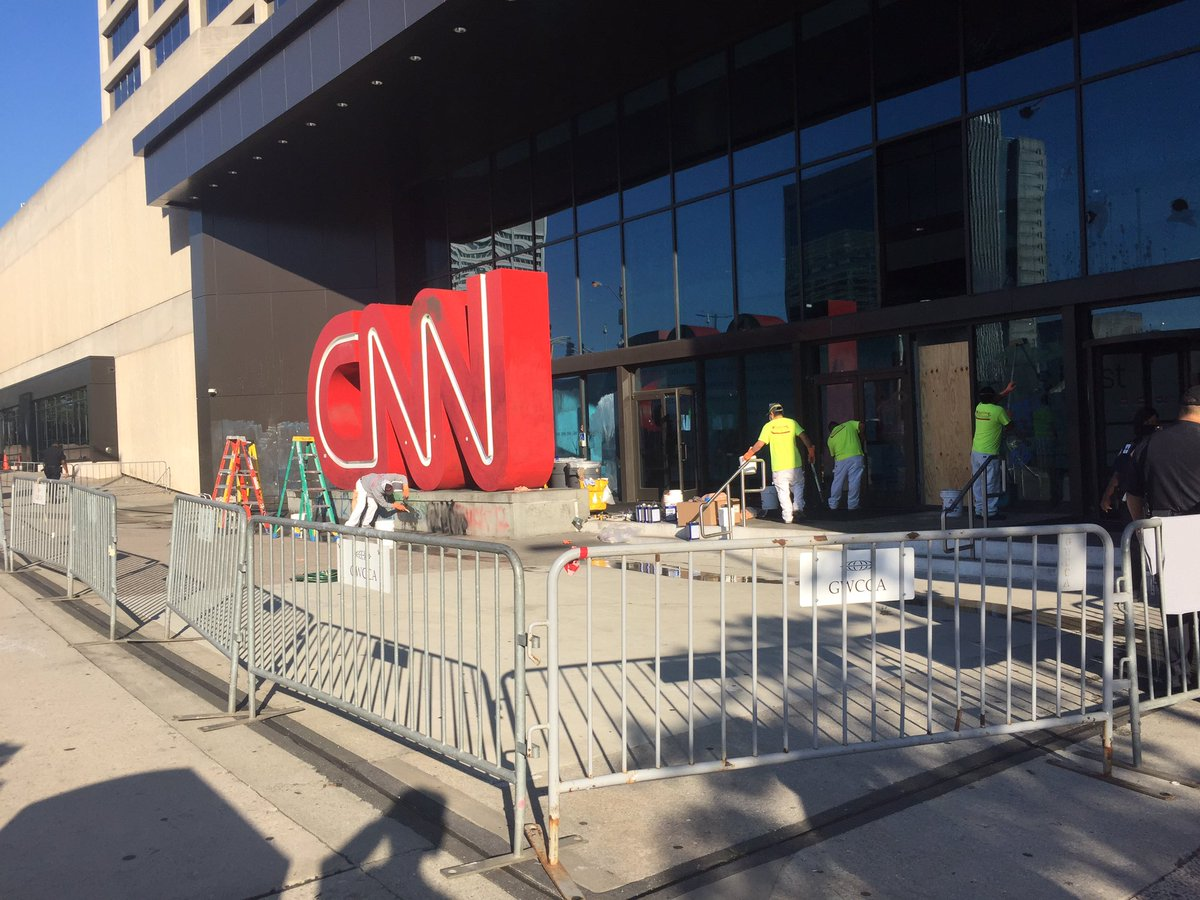 There's a barricade around the CNN sign now. It's being cleaned
