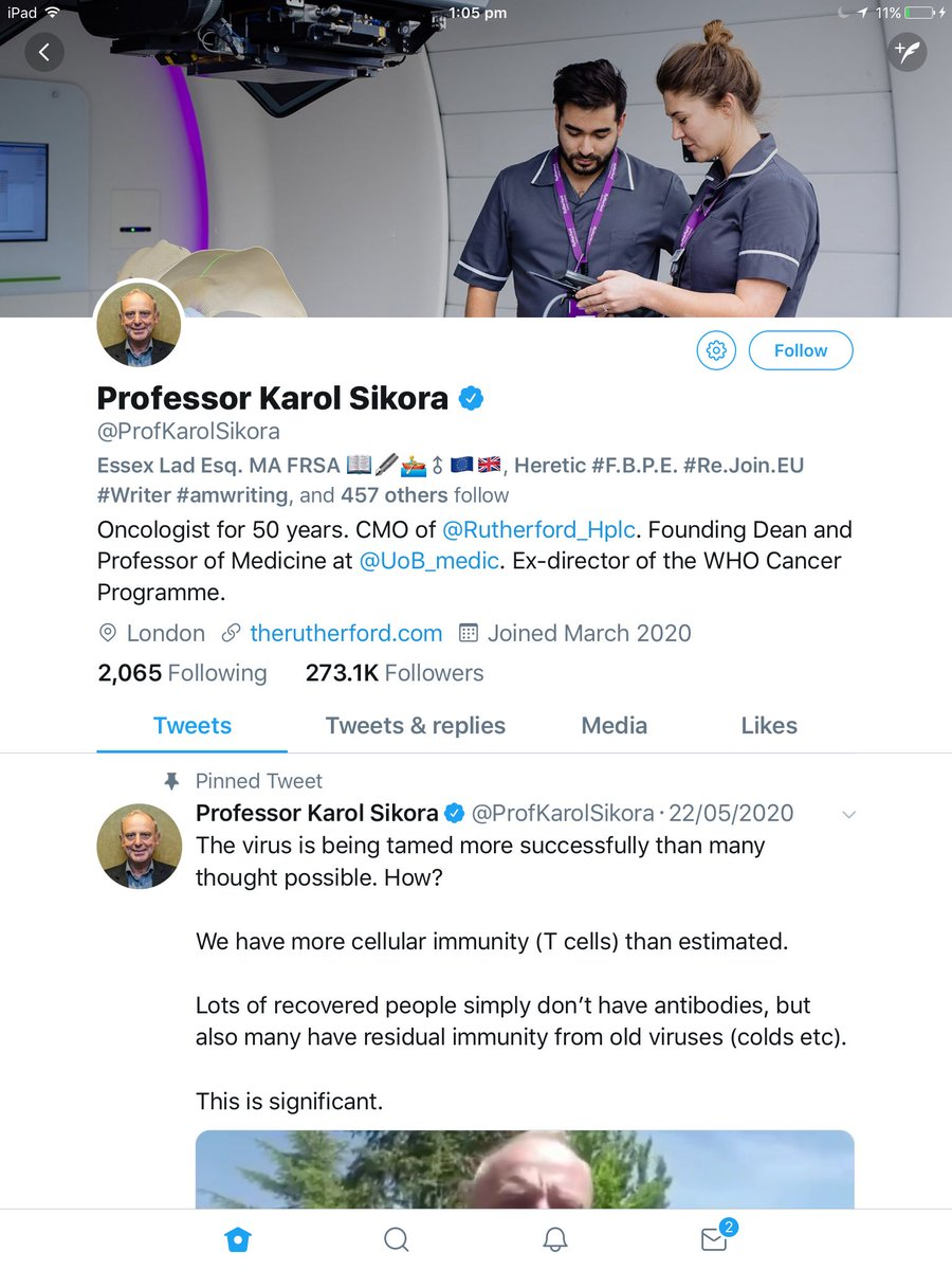 Who is this guy? The account was opened only 2 months ago yet look at the follower count. Had anybody heard of this apparent 'expert' before? His tweets are encouraging people to believe government lies and minimise the risks of #Covid19 - this is suss AF imo. <br>http://pic.twitter.com/8KksY7bqkz