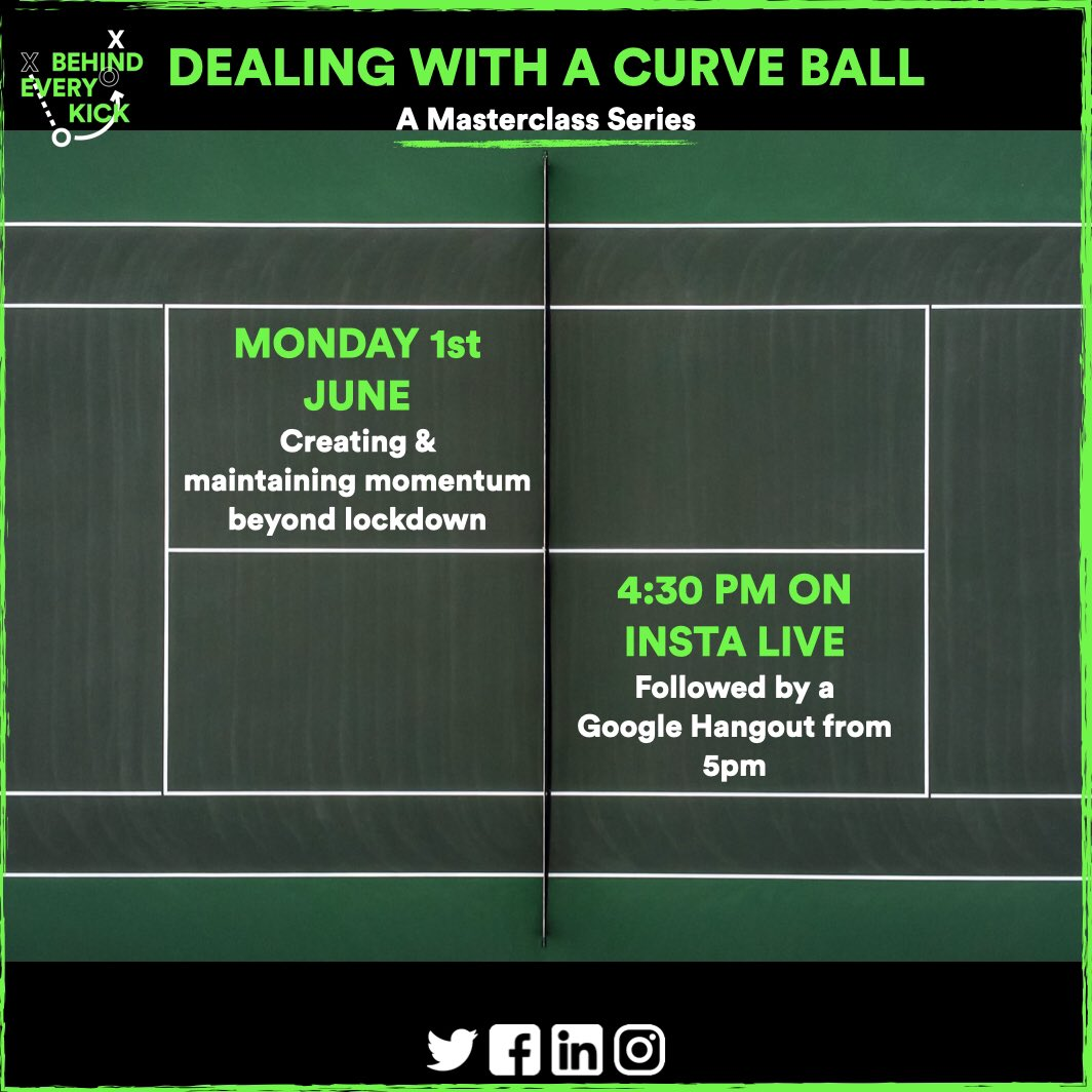 NEXT WEEK WITH BEK! Our Masterclass Series will be coming to a close on Monday, with a session all about #momentum. Join us from 4:30pm on Instagram Live & 5:00pm on Google Hangout (link in Insta bio). #BEK #BEKConnect #Masterclass #Series #Curve #Ball #Sport #Tennis #LTA