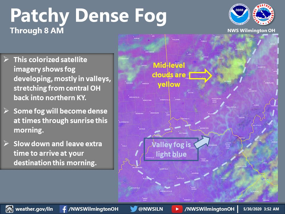 This specialized satellite imagery highlights the dense fog currently forming across the Ohio, Kentucky, and Scioto River valleys. Some of this valley fog may spill out into neighboring areas as well. Leave some extra time to reach your destination this morning. https://t.co/NW7sm0DNpB