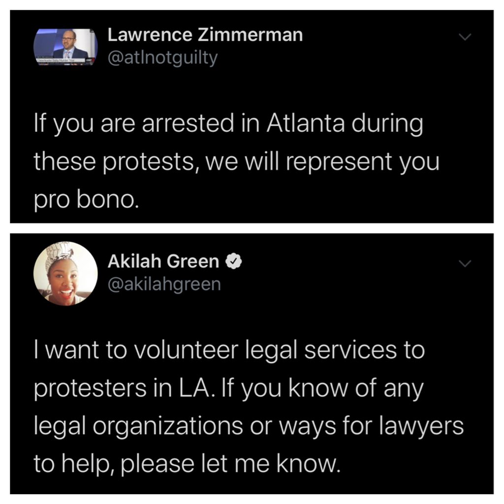 Lawyers offering pro bono services for arrested protestors. Minneapolis, Houston, New York, Atlanta, Los Angeles. I know there are far more doing the same thing in other cities please add them to this thread
