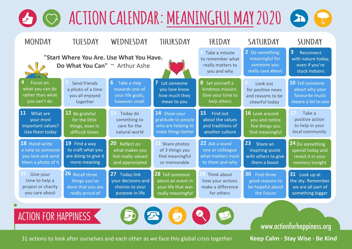 Day 30 of May's Action for Happiness:  Find 3 reasons to be hopeful about the future.  Why are you hopeful?  #ActionForHappiness #Calendar #Hopeful #Future #inspiration #Motivation