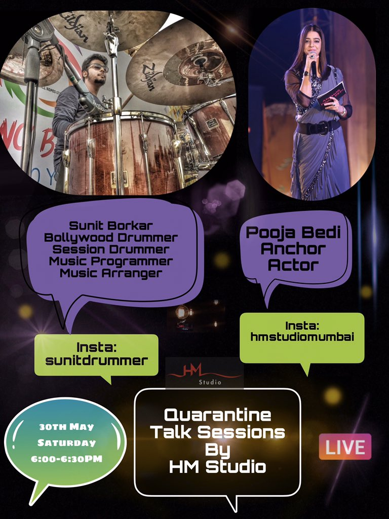 Quarantine Talk Session with super amazing musician Sunit Borkar @DrummerSunit and Anchor Pooja Bedi @poojabedi05 today at 6:00PM on Instagram hmstudiomumbai so do come and join this live session#weekendwithpooja #livestream #sunitborkar #poojabedi05 #hmstudiomumbaipic.twitter.com/ZU2T8tR4Yr
