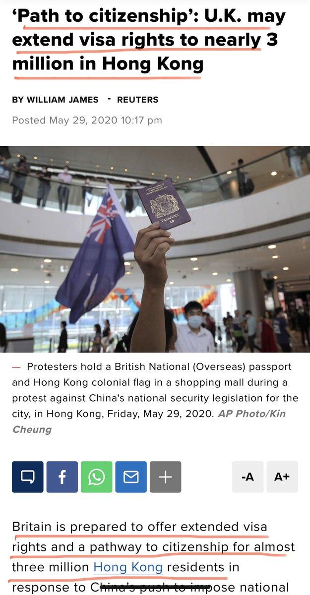 港人的希望来了!  英国准备给港人签发高达3百万移民签证!  注:习🐷的举动明显是留岛不留人,他是铁了心了要遗臭万年。如果再加上一个屠杀的罪名,我想他也不在乎。  在英国再建立一个小香港,你们照样可以全家团聚。换个生活方式,未必是件坏事 走吧! https://t.co/x008J5aoYX